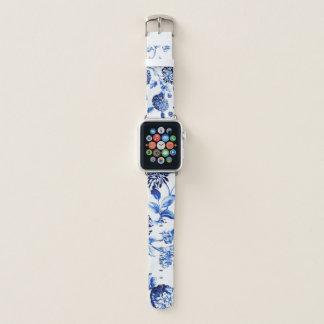 Blaue weiße Vintage botanische BlumenToile Blume Apple Watch Armband
