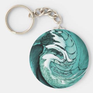 Blaue Wellen Standard Runder Schlüsselanhänger