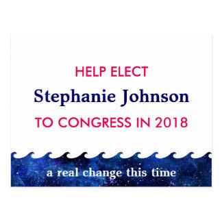 Blaue Wellen-Wahl-Kampagne 2018 personalisiert Postkarte
