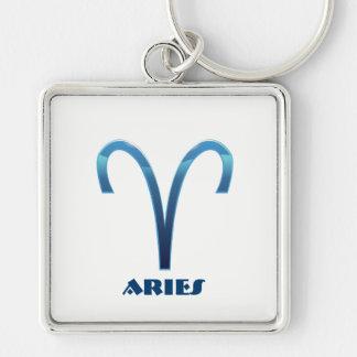 Blaue Widder-Tierkreis-Zeichen auf Weiß Schlüsselanhänger