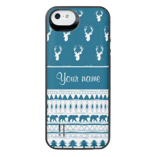 Blaue Winter-Rotwild-Stammes- aztekisches Muster iPhone SE/5/5s Batterie Hülle