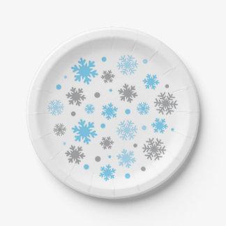 Blaue Winter-Schneeflocke-Babyparty Pappteller