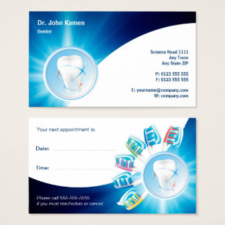 Blaue zahnmedizinische Verabredungs-Karte | Visitenkarte