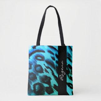 Blaue ZEBRA Druck-NAMe-hoch Tasche