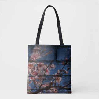 Blaue Ziegelstein-und Blüten-Taschen Tasche