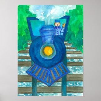 Blaue Zug-Aquarell-Illustration Poster