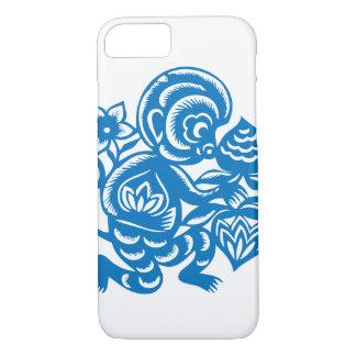 Blauer Affe-Papier-Ausschnitt iPhone 8/7 Hülle