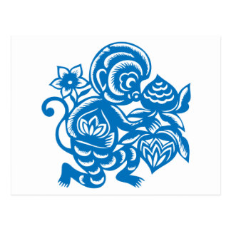 Blauer Affe-Papier-Ausschnitt Postkarte