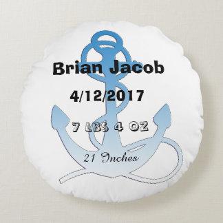Blauer Anker-personalisiertes Baby-Jungen-Kissen Rundes Kissen