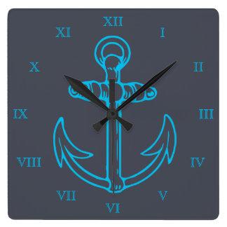Blauer Anker-römische Ziffern Schiff oder Boot Quadratische Wanduhr