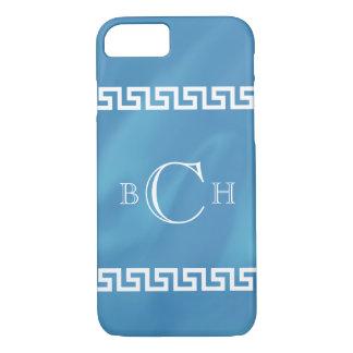 Blauer Aquarell-Grieche-Schlüssel iPhone 7 Hülle