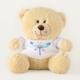 Blauer Aquarell-Schmetterling Teddybär