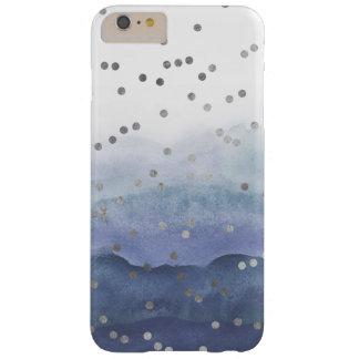 Blauer Aquarellu. Silberconfetti-Telefon-Kasten Barely There iPhone 6 Plus Hülle
