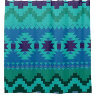 Blauer aztekischer Muster-Duschvorhang Duschvorhang