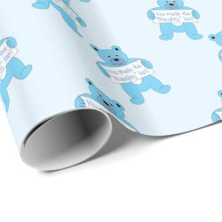 Blauer Bär mit Zeichen-frecher Liste Geschenkpapier