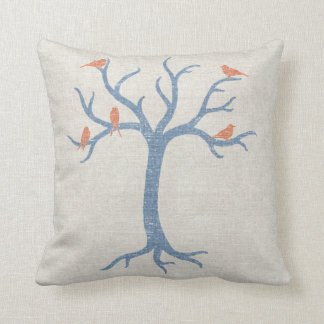 Blauer Baum beunruhigtes Leinenblick-Kissen Zierkissen
