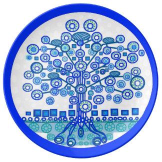 Blauer Baum der Leben-Platte Teller