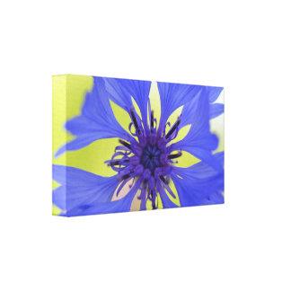 Blauer Blumen-Leinwanddruck