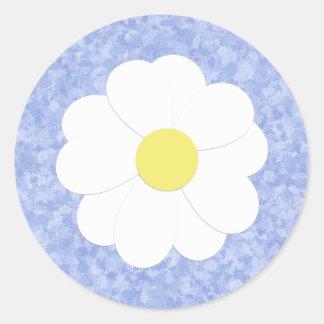 Blauer Blumengänseblümchen-Aufkleber Runder Aufkleber