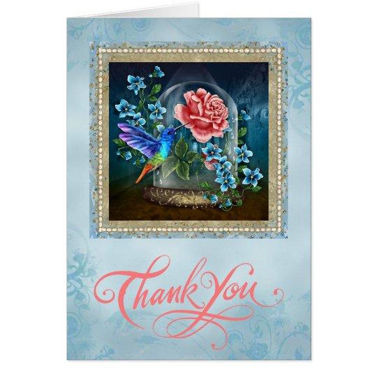 Blauer Blumenkolibri danken Ihnen zu kardieren Karte