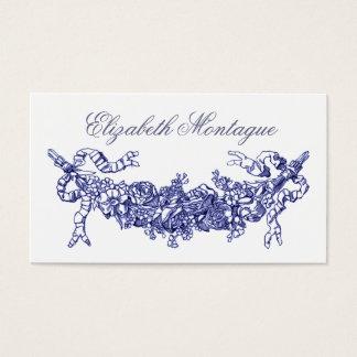Blauer Blumenswag-Vintages Geschäft oder nennende Visitenkarte