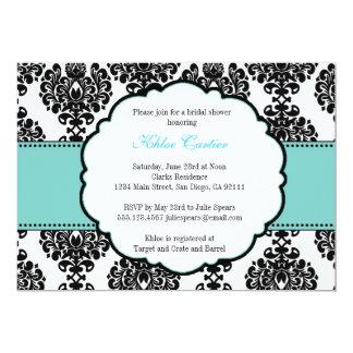 Blauer Brautparty-Einladungs-Damast 12,7 X 17,8 Cm Einladungskarte