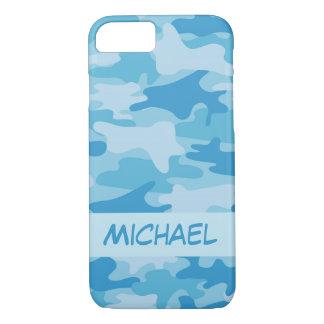 Blauer Camouflage-Tarnungs-Name personalisiert iPhone 8/7 Hülle