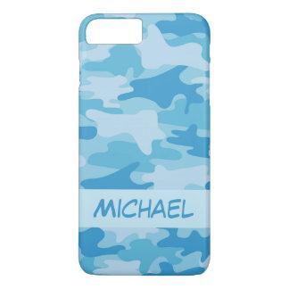 Blauer Camouflage-Tarnungs-Name personalisiert iPhone 8 Plus/7 Plus Hülle