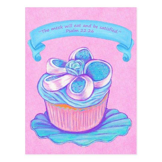 Blauer Cupcake~Meek essen Schrifts-Postkarte Postkarte