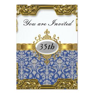 Blauer Damast-Geburtstags-Party-Glamour-heiße 11,4 X 15,9 Cm Einladungskarte