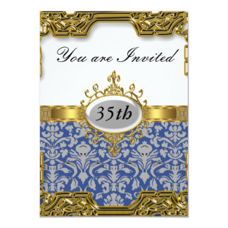 Blauer Damast-Geburtstags-Party-Glamour-heiße Karte