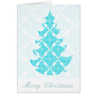 Blauer Damast-Weihnachtsbaum Karte