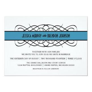 Blauer Deko blühen Hochzeit einladen 12,7 X 17,8 Cm Einladungskarte