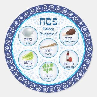 Blauer Doily-Passahfest Seder Platten-Aufkleber Runder Aufkleber