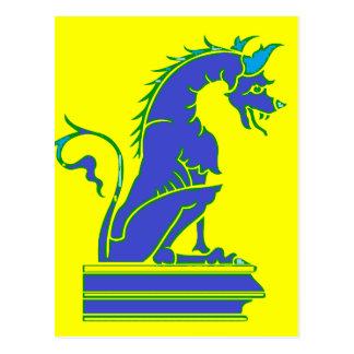 Blauer Drache auf Sockel Postkarte