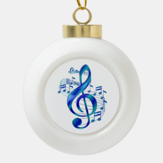 Blauer dreifacher Clef Keramik Kugel-Ornament