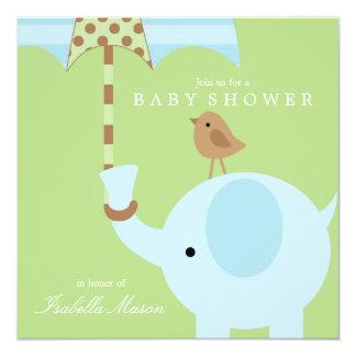 Blauer Elefant - Babyparty-Einladung des Grün-| Quadratische 13,3 Cm Einladungskarte