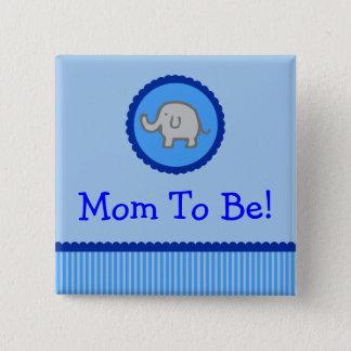 """Blauer Elefant """"Mamma, zum Babyparty-Knopf zu Quadratischer Button 5,1 Cm"""
