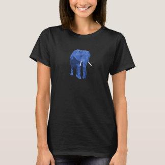 Blauer Elefant-niedrige Polykunst T-Shirt