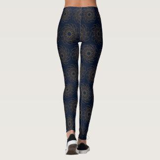 Blauer Entwurf mit braunen Kurven Leggings