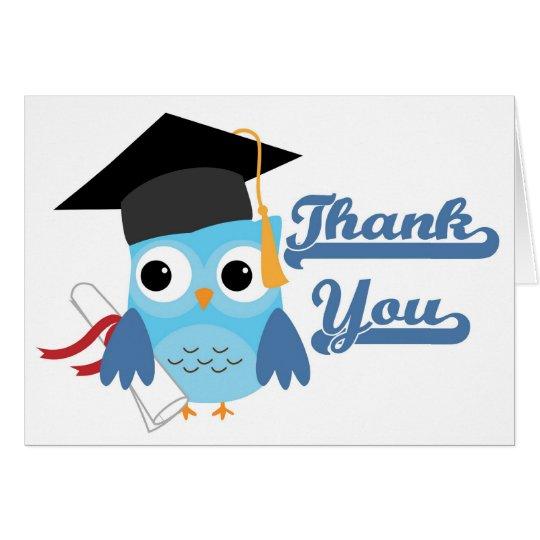 Blauer Eulen-Kappen-u. Diplom-Abschluss danken Grußkarte