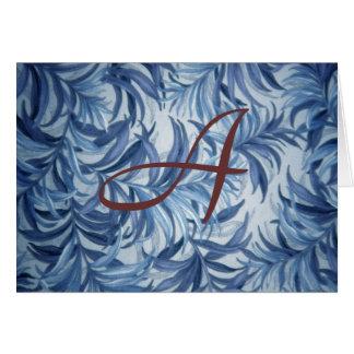 Blauer Farn-personalisiertes Monogramm Karte
