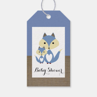 Blauer Fox-Leinwand-Babyparty Geschenkanhänger