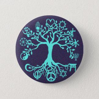 Blauer Friedensbaum Runder Button 5,7 Cm