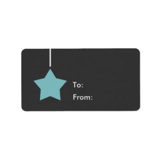 Blauer fröhlicher und heller Stern-Feiertag Adressaufkleber