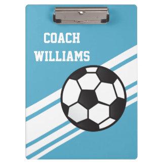 Blauer Fußball-Trainer-personalisiertes Klemmbrett