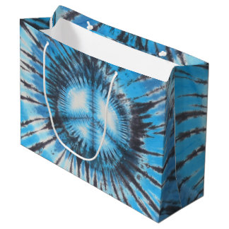 Blauer gebatikter Frieden Große Geschenktüte
