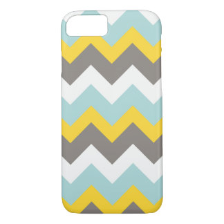 Blauer, gelber, grauer, weißer Zickzack iPhone 8/7 Hülle