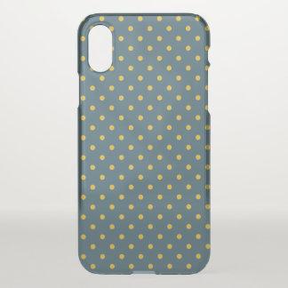 Blauer/gelber iPhone X Clearly™ Ablenker-Kasten iPhone X Hülle