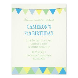 Blauer gelbes Grün-Schnurpennon-Kindergeburtstag 10,8 X 14 Cm Einladungskarte